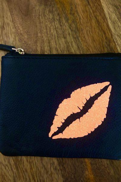 glitter coral lips coin purse