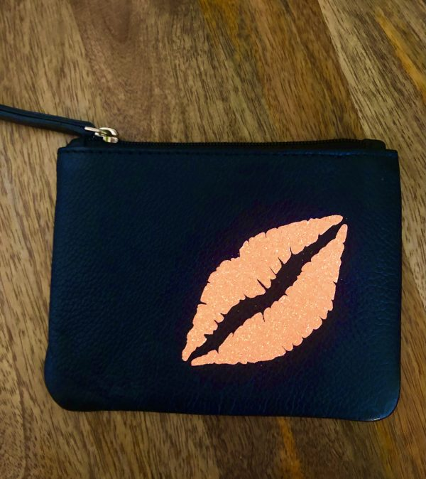 glitter coral lips coin purse