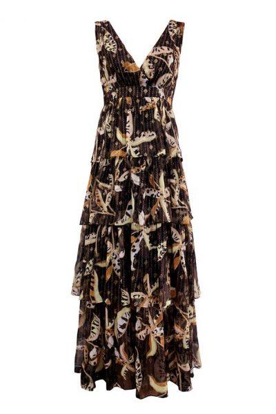 tiered metallic floral maxi dress