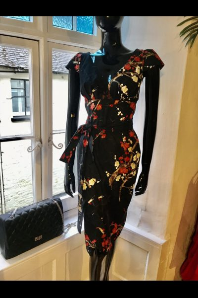 Black and red cherry blossom dress
