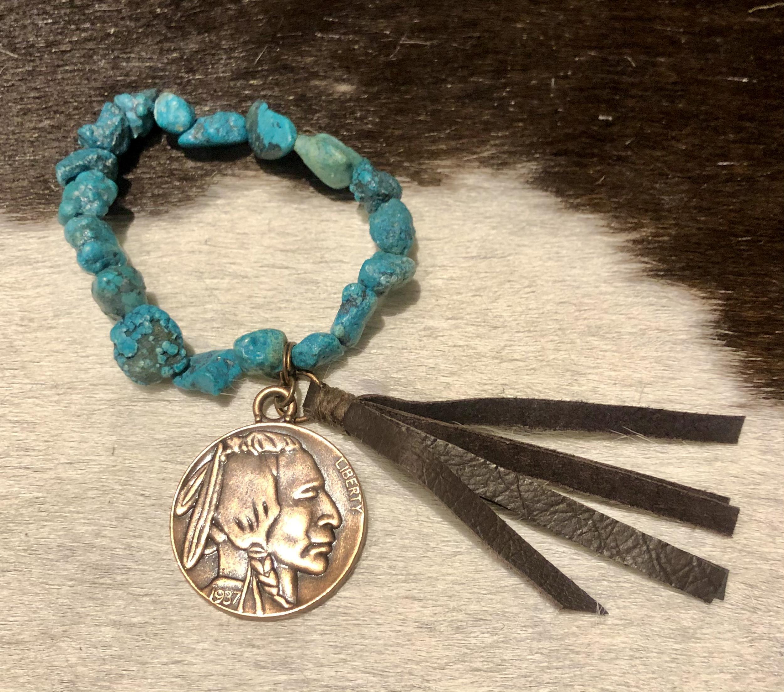 Apache coin turquoise bracelet