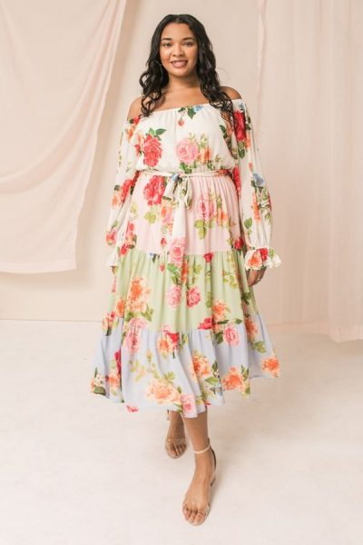 floral rose off the shoulder dress