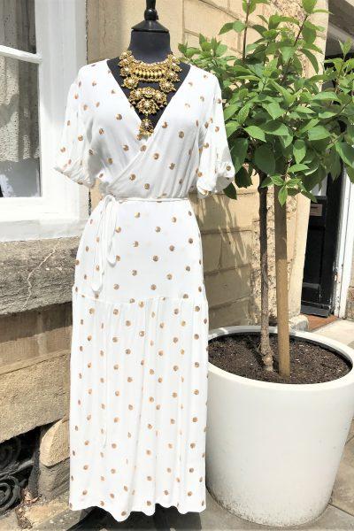 breathless trance wrap dress in white