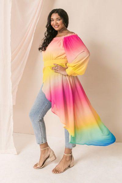 rainbow maxi top