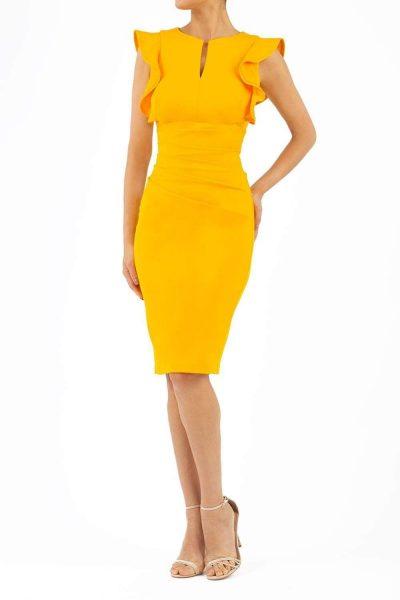 yellow ruffle shoulder pencil dress