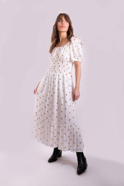 Breathless corset sequin dress in white