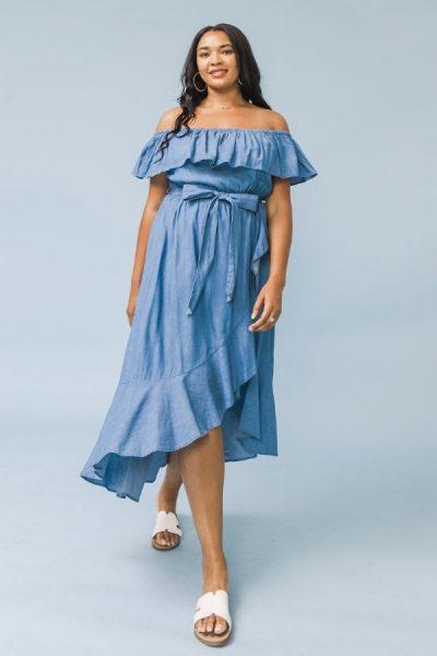 Curve Denim Ruffle dress