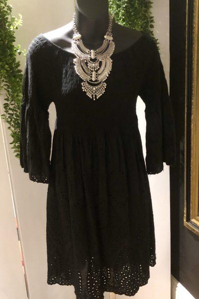 broderie bardot mini dress
