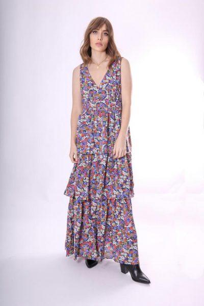 nirvana tiered sleeveless maxi dress