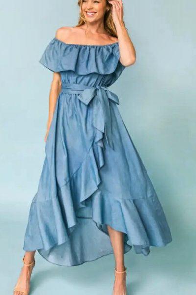 Off the Shoulder denim ruffle dress regular
