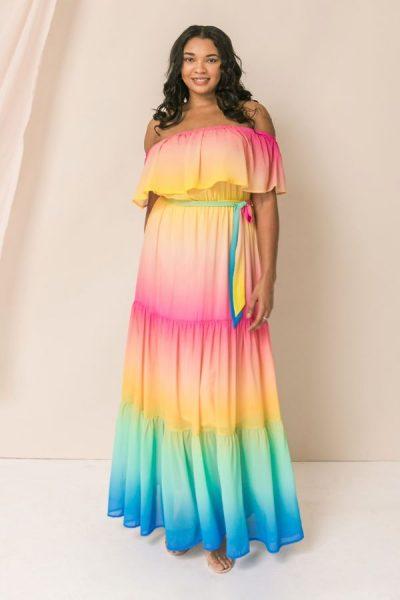 Rainbow off the shoulder maxi dress