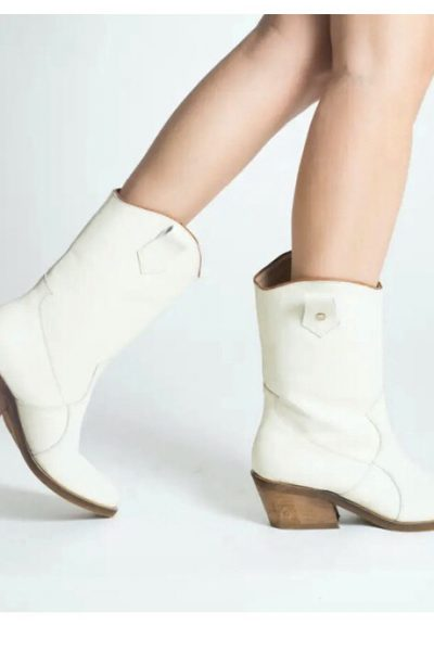 calf length ivory leather boots