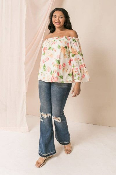 cream floral floaty top