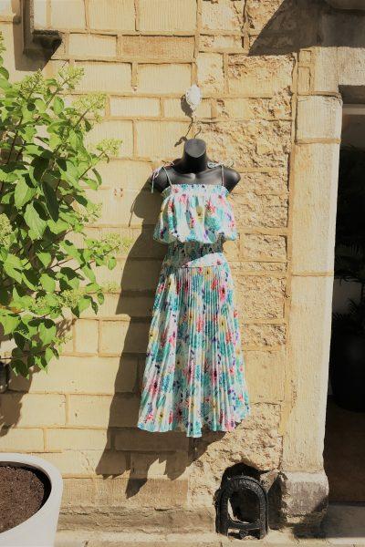 pastel pleated spaghetti strap dress