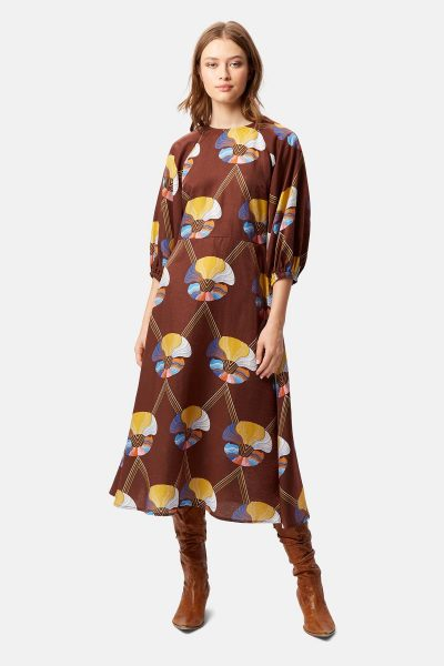 Brown Drape Dress by Traffic People