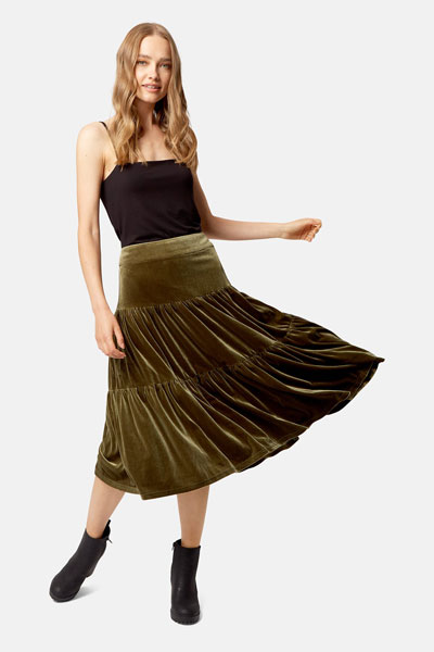 Green Velvet Tiered skirt by Traffic People
