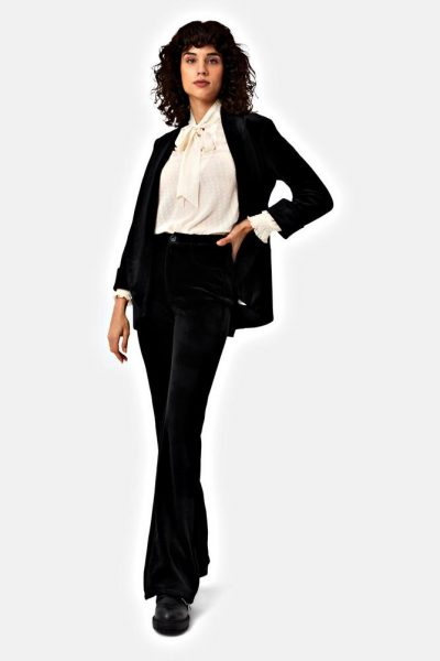 mom flared cord trousers black traffic people