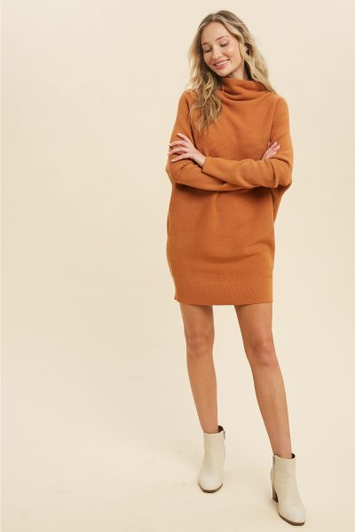 slouch neck knitted mini dress caramac