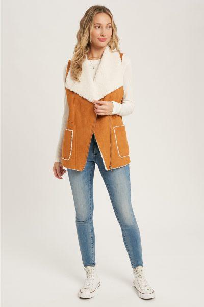 shearling suede tan fur vest